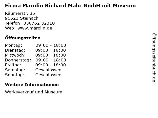 Firma Marolin Richard Mahr GmbH mit Museum in Steinach: Adresse und Öffnungszeiten