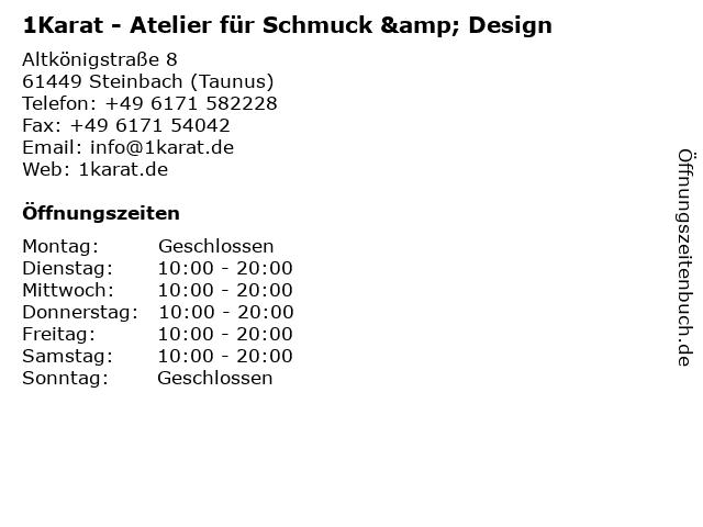 1Karat - Atelier für Schmuck und Design in Steinbach (Taunus): Adresse und Öffnungszeiten