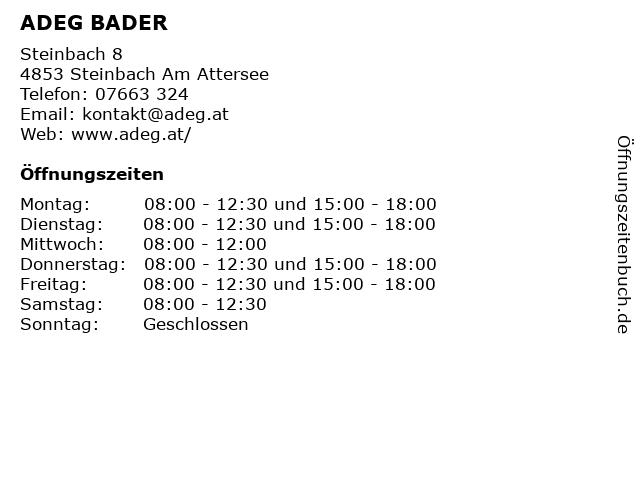 ADEG BADER in Steinbach Am Attersee: Adresse und Öffnungszeiten