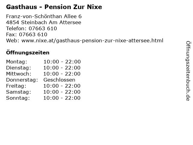 Gasthaus - Pension Zur Nixe in Steinbach Am Attersee: Adresse und Öffnungszeiten