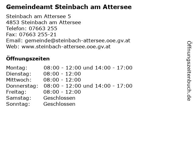 Gemeindeamt Steinbach am Attersee in Steinbach am Attersee: Adresse und Öffnungszeiten