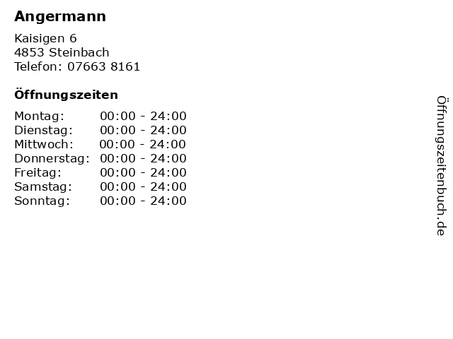 Angermann in Steinbach: Adresse und Öffnungszeiten