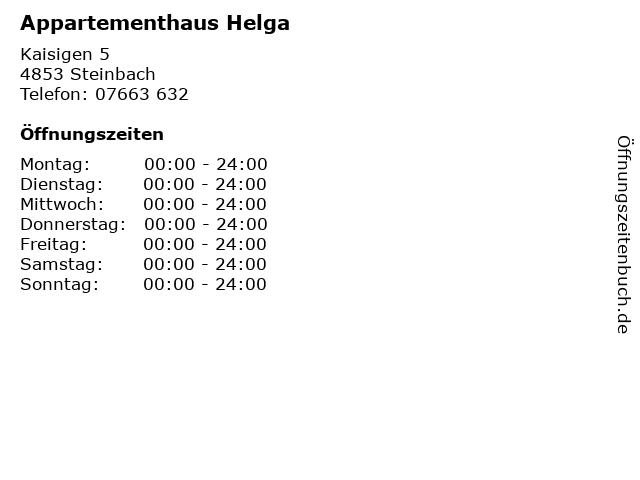 Appartementhaus Helga in Steinbach: Adresse und Öffnungszeiten