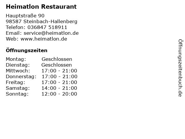 ᐅ öffnungszeiten Heimatlon Restaurant Hauptstraße 90 In