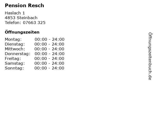 Pension Resch in Steinbach: Adresse und Öffnungszeiten