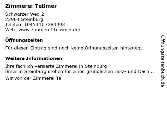 Zimmerei Teßmer GmbH & Co.KG in Steinburg: Adresse und Öffnungszeiten