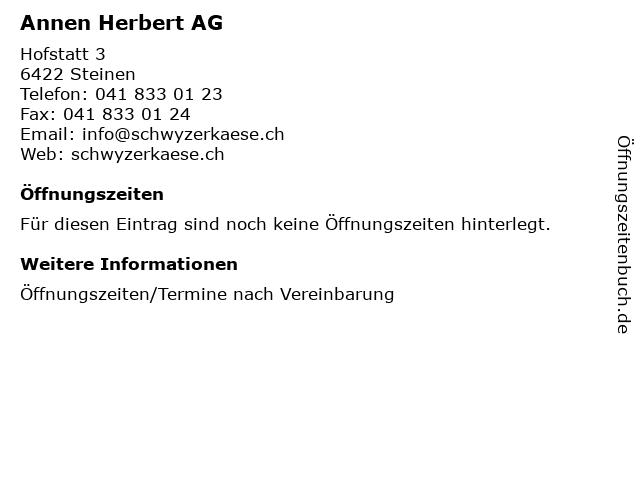 Annen Herbert AG in Steinen: Adresse und Öffnungszeiten
