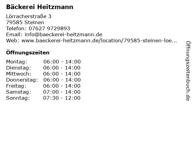 Bäckerei Heitzmann in Steinen: Adresse und Öffnungszeiten