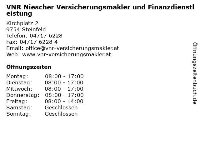 VNR Niescher Versicherungsmakler und Finanzdienstleistung in Steinfeld: Adresse und Öffnungszeiten