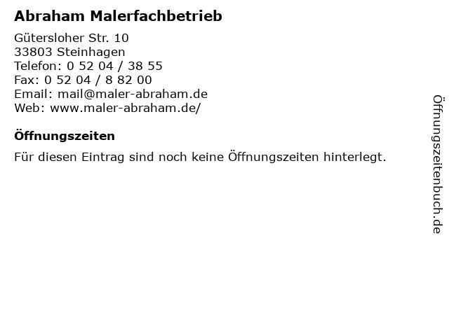 Abraham Malerfachbetrieb in Steinhagen: Adresse und Öffnungszeiten
