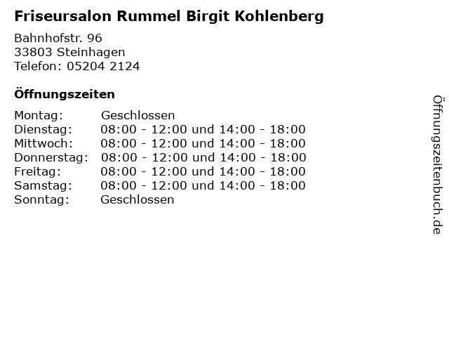 Friseursalon Rummel Birgit Kohlenberg in Steinhagen: Adresse und Öffnungszeiten