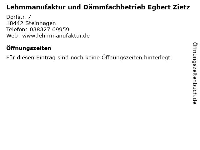 Lehmmanufaktur und Dämmfachbetrieb Egbert Zietz in Steinhagen: Adresse und Öffnungszeiten