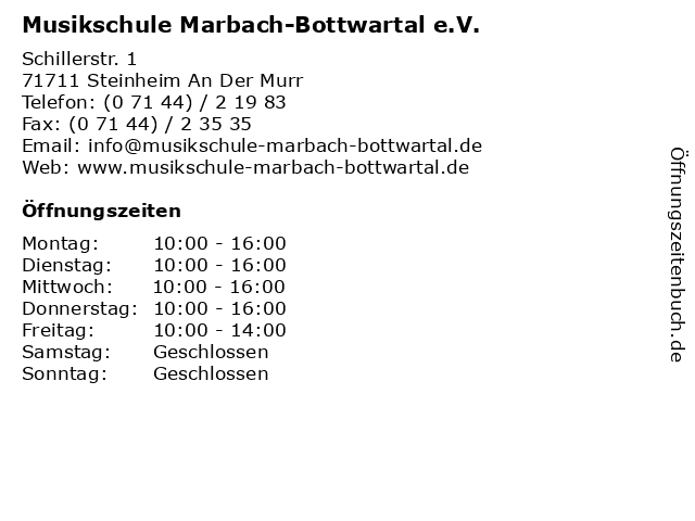 Musikschule Marbach-Bottwartal e.V. in Steinheim An Der Murr: Adresse und Öffnungszeiten