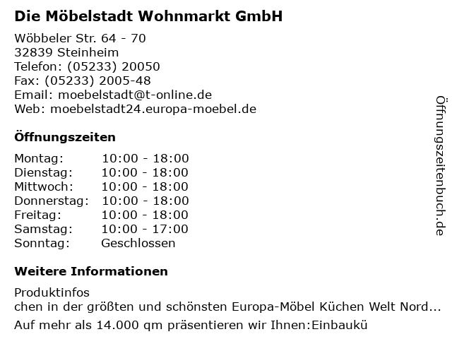 ᐅ Offnungszeiten Die Mobelstadt Wohnmarkt Gmbh Wobbeler Str 64