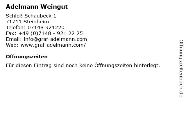 Adelmann Weingut in Steinheim: Adresse und Öffnungszeiten