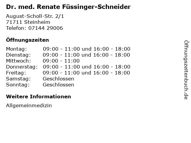 Dr. med. Renate Füssinger-Schneider in Steinheim: Adresse und Öffnungszeiten