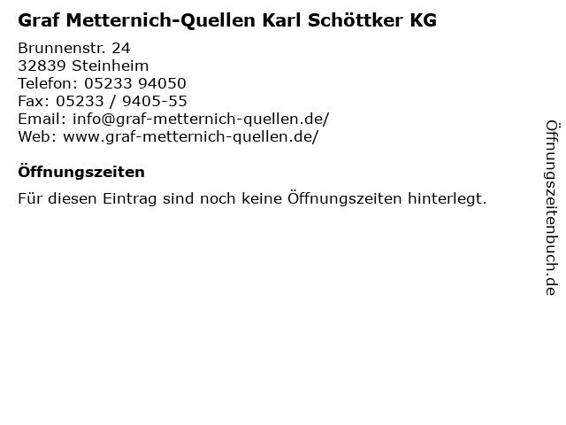 Graf Metternich-Quellen Karl Schöttker KG in Steinheim: Adresse und Öffnungszeiten