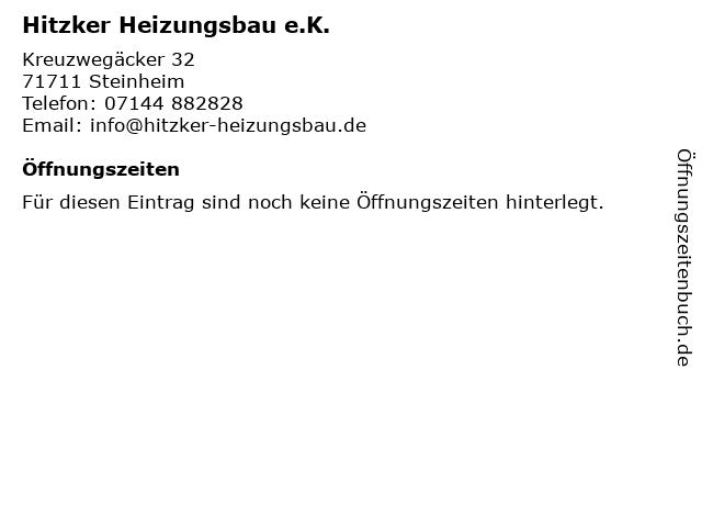Hitzker Heizungsbau e.K. in Steinheim: Adresse und Öffnungszeiten