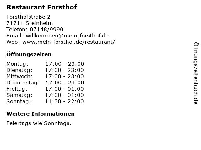 Restaurant Forsthof in Steinheim: Adresse und Öffnungszeiten