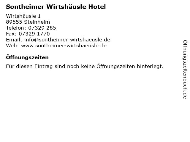 Sontheimer Wirtshäusle Hotel in Steinheim: Adresse und Öffnungszeiten