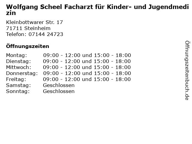 Wolfgang Scheel Facharzt für Kinder- und Jugendmedizin in Steinheim: Adresse und Öffnungszeiten