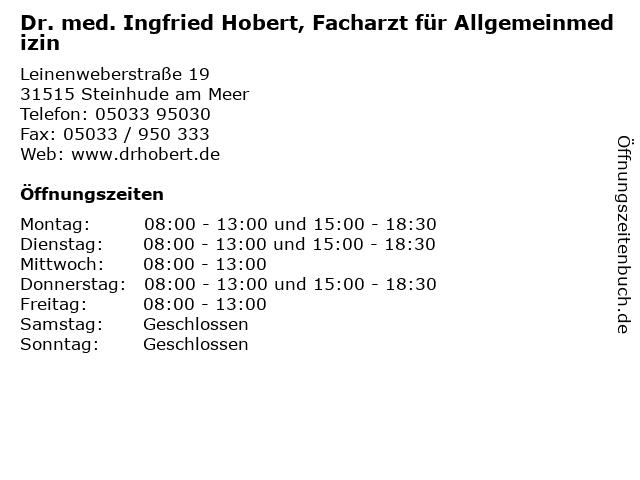 Dr. med. Ingfried Hobert, Facharzt für Allgemeinmedizin in Steinhude am Meer: Adresse und Öffnungszeiten