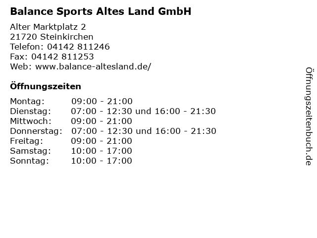 Balance Sports Altes Land GmbH in Steinkirchen: Adresse und Öffnungszeiten