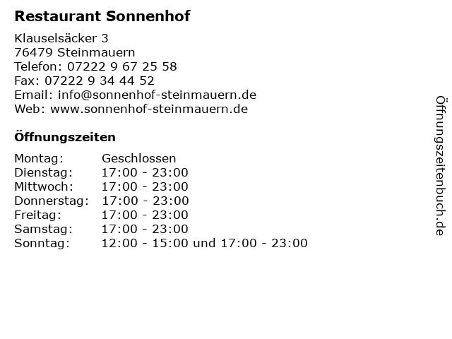 Restaurant Sonnenhof in Steinmauern: Adresse und Öffnungszeiten