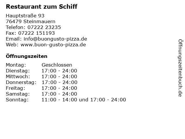 Restaurant zum Schiff in Steinmauern: Adresse und Öffnungszeiten