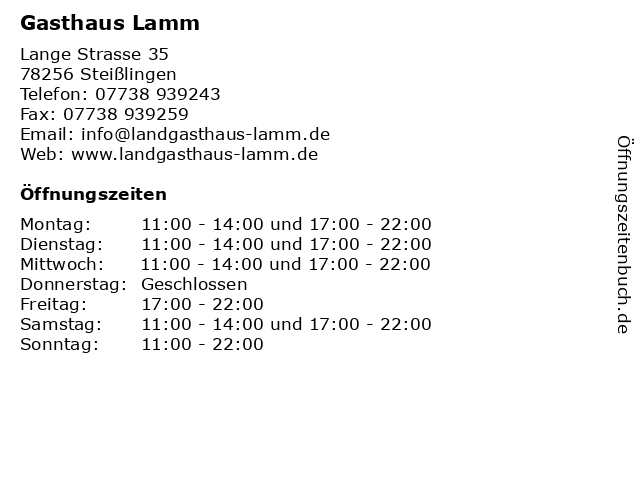 Gasthaus Lamm in Steißlingen: Adresse und Öffnungszeiten