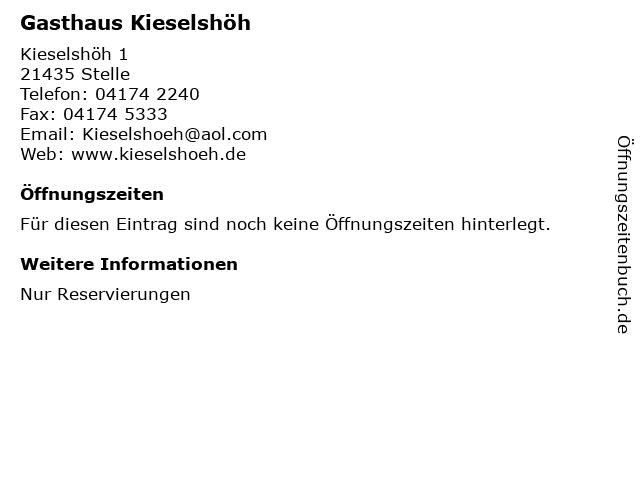 Gasthaus Kieselshöh in Stelle: Adresse und Öffnungszeiten