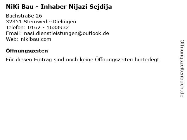NiKi Bau - Inhaber Nijazi Sejdija in Stemwede-Dielingen: Adresse und Öffnungszeiten