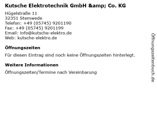 Kutsche Elektrotechnik GmbH & Co. KG in Stemwede: Adresse und Öffnungszeiten