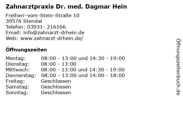 Zahnarztpraxis Dr. med. Dagmar Hein in Stendal: Adresse und Öffnungszeiten