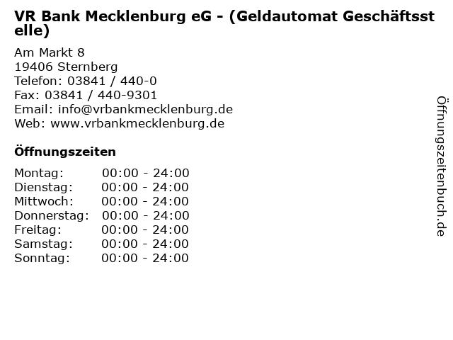 VR Bank Mecklenburg eG - (Geldautomat Geschäftsstelle) in Sternberg: Adresse und Öffnungszeiten