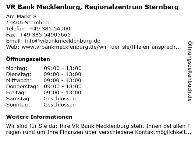 VR Bank Mecklenburg eG, Regionalzentrum Sternberg in Sternberg: Adresse und Öffnungszeiten