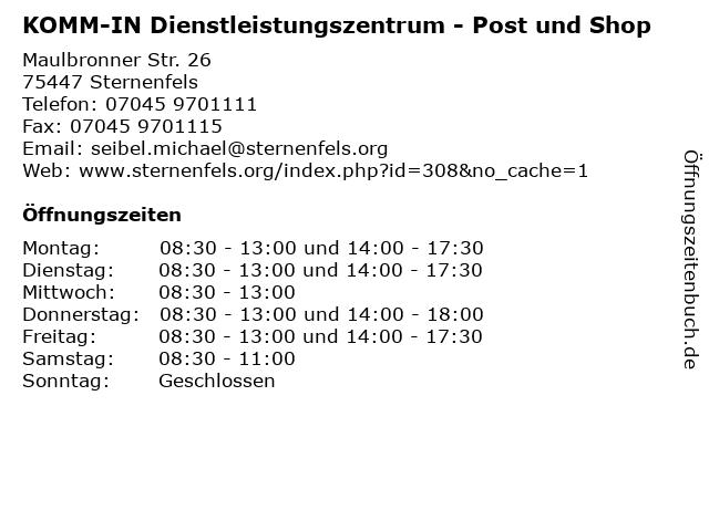 KOMM-IN Dienstleistungszentrum - Post und Shop in Sternenfels: Adresse und Öffnungszeiten