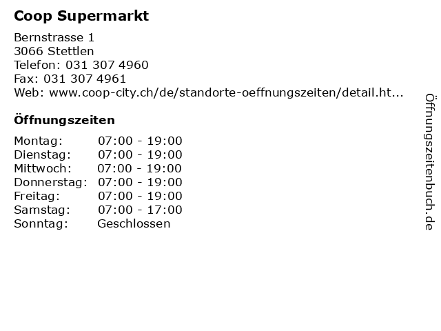 Coop Supermarkt in Stettlen: Adresse und Öffnungszeiten