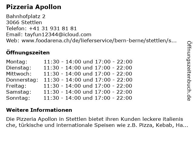 Pizzeria Apollon in Stettlen: Adresse und Öffnungszeiten