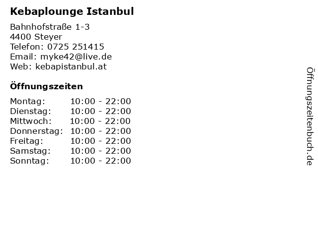 Kebaplounge Istanbul in Steyer: Adresse und Öffnungszeiten