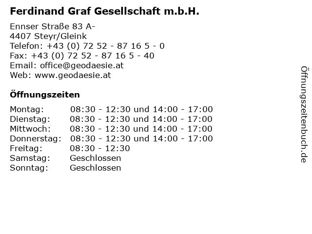 Ferdinand Graf Gesellschaft m.b.H. in Steyr/Gleink: Adresse und Öffnungszeiten