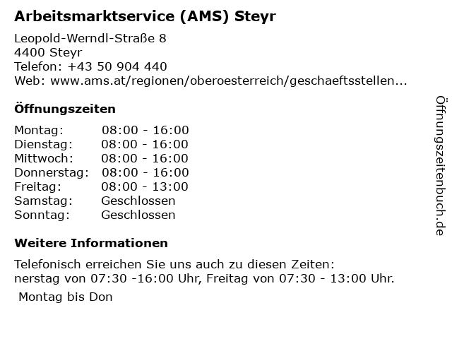 AMS Steyr - Service für Arbeitsuchende in Steyr: Adresse und Öffnungszeiten