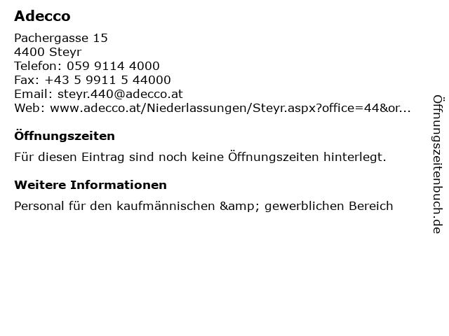 Adecco in Steyr: Adresse und Öffnungszeiten