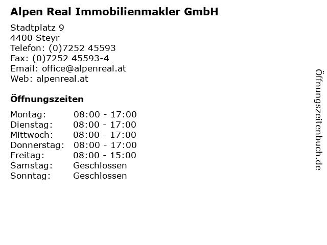 Alpen Real Immobilienmakler GmbH in Steyr: Adresse und Öffnungszeiten