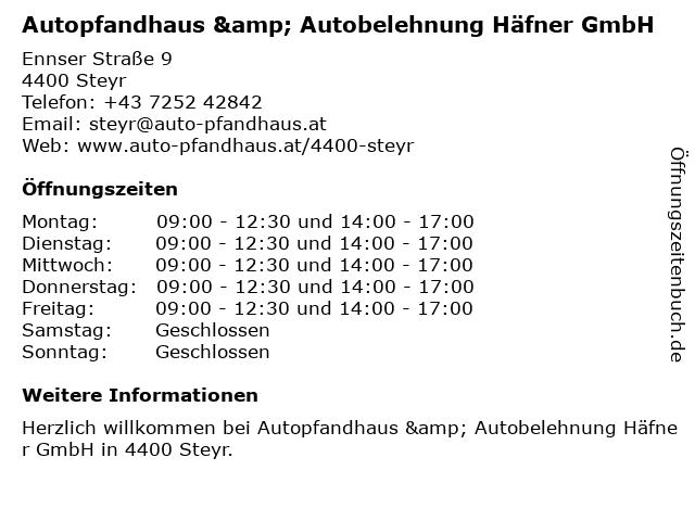 Autobelehnung Häfner GmbH in Steyr: Adresse und Öffnungszeiten