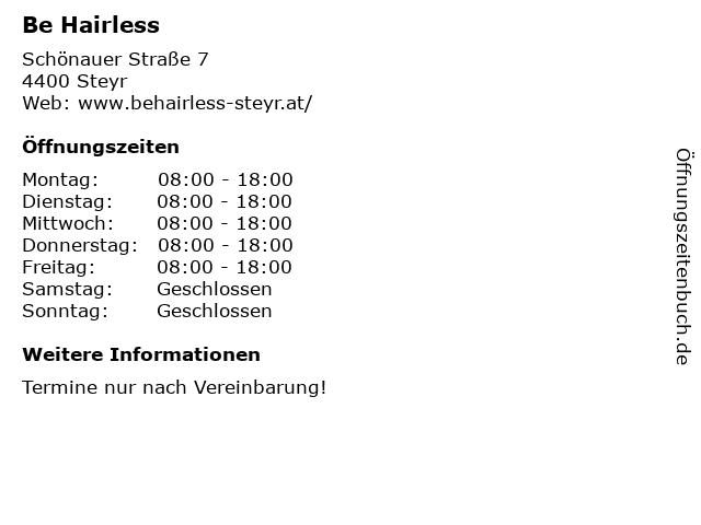 Be Hairless in Steyr: Adresse und Öffnungszeiten