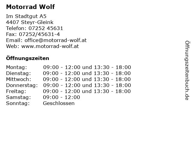 Motorrad Wolf in Steyr-Gleink: Adresse und Öffnungszeiten