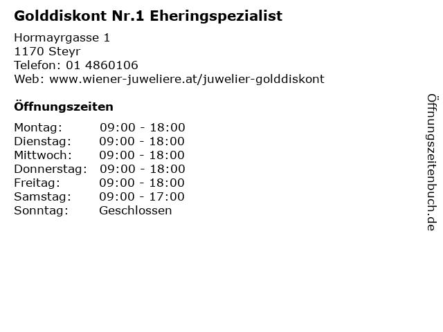 Golddiskont Nr.1 Eheringspezialist in Steyr: Adresse und Öffnungszeiten