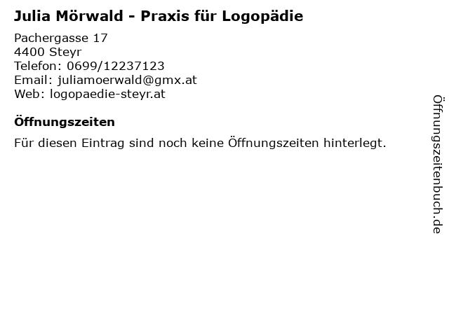 Julia Mörwald - Praxis für Logopädie in Steyr: Adresse und Öffnungszeiten