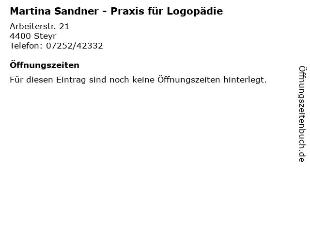 Martina Sandner - Praxis für Logopädie in Steyr: Adresse und Öffnungszeiten